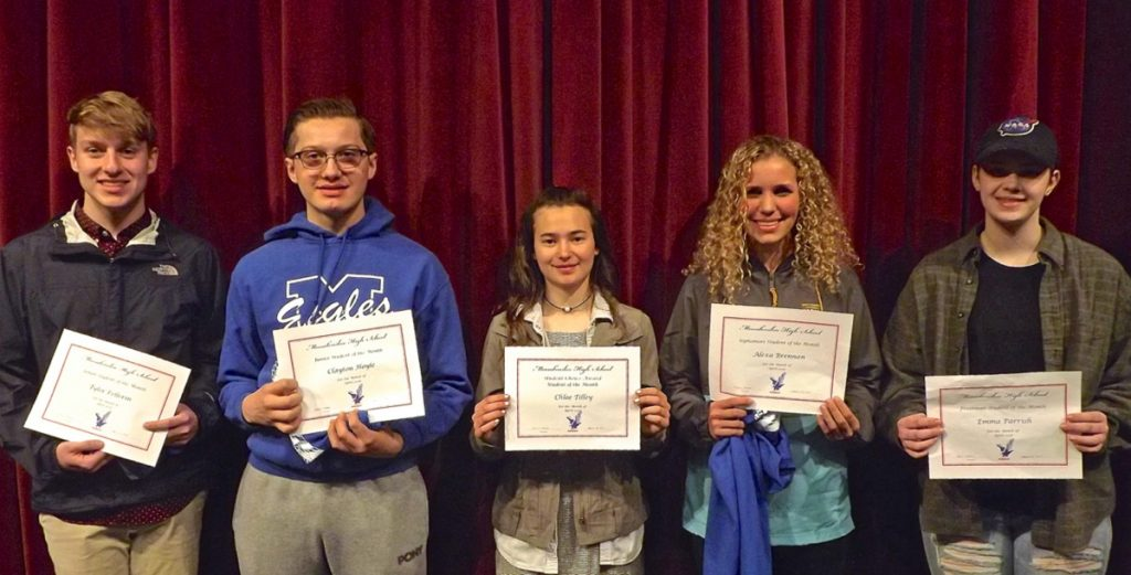 Messalonskee High School's April Students of the Month are, from left, Tyler Pellerin, Clayton Hoyle, Chloe Tilley, Alexa Brennan and Emma Parrish.