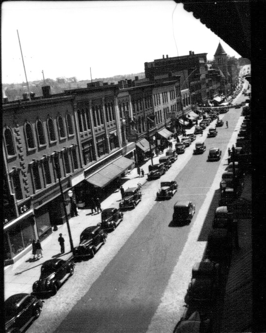This view looking south on Water Street in Augusta was photographed about 1940, when traffic was two-way downtown. City officials are exploring whether to change part of the traffic pattern from one-way back to two-way.