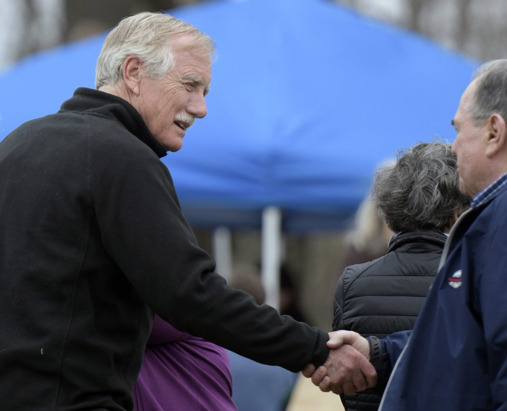 U.S. Senator Angus King greets constituents Sunday at the Travis Mills Foundation during an open house in Rome.
