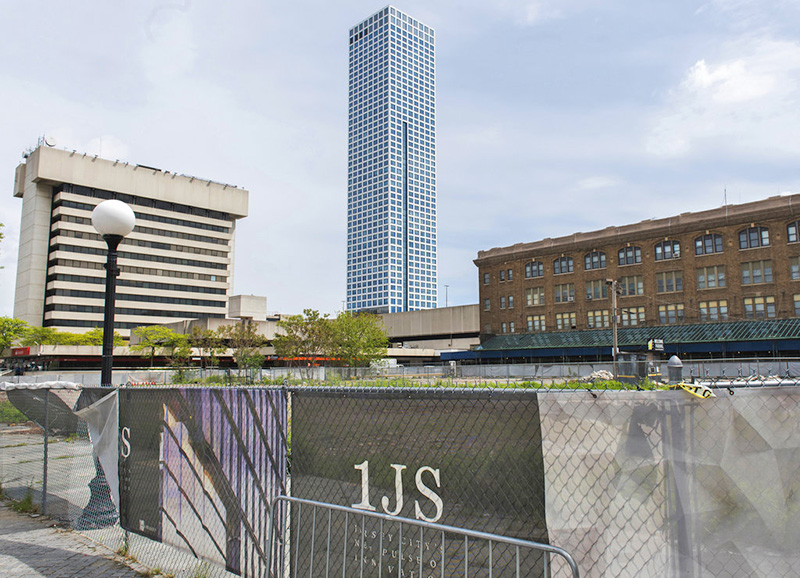 The lot where One Journal Square, a twin-tower residential building championed by Jared Kushner, was to be constructed in Jersey City.