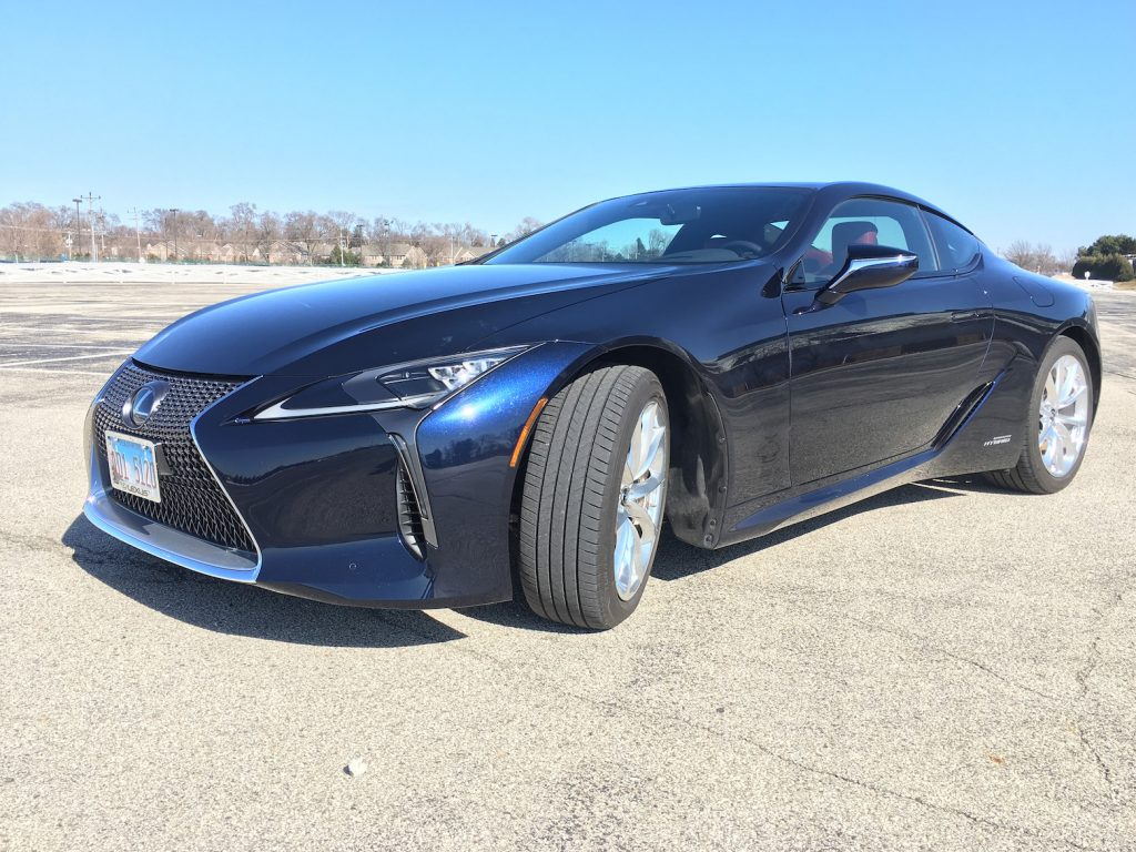 The 2018 Lexus LC500h is powered by a 354-horsepower 3.5-liter V-6 engine with a mult-stage hybrid system consisting of a continuously variable transmission mated to a four-speed automatic transmission.