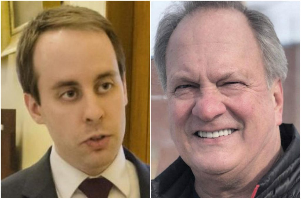 Maine Sen. Eric Brakey, of Auburn, left, and fellow Republican Max Linn, both of whom are seeking the party's nomination to challenge U.S. Sen. Angus King, an independent.