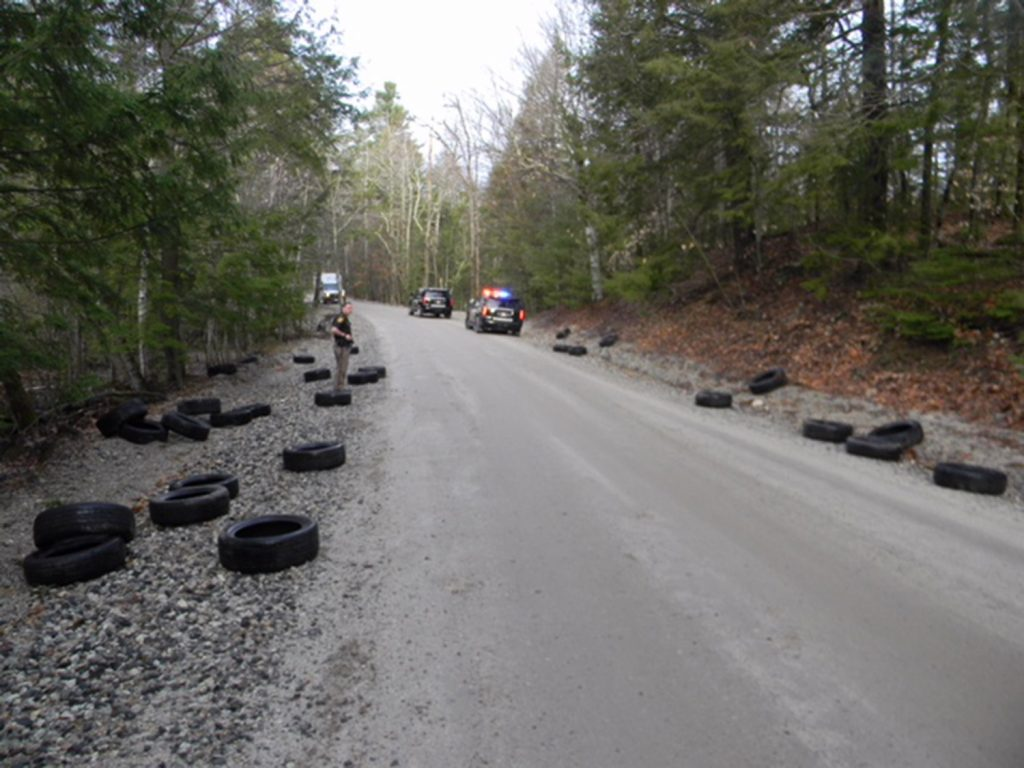 More than 90 used tires were dumped on Quarry Road in New Gloucester sometime before 6:30 a.m. Friday, the Cumberland County Sheriff's Department reports.