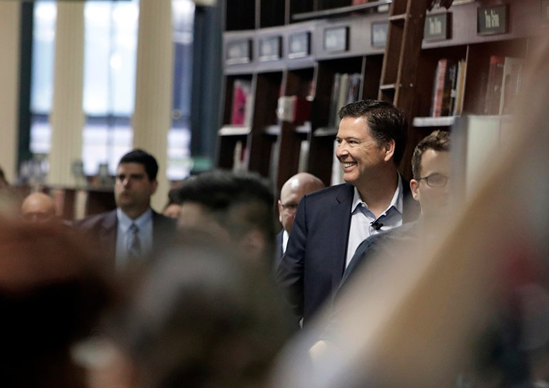 Former FBI director James Comey arrives at a New York bookstore on Tuesday.