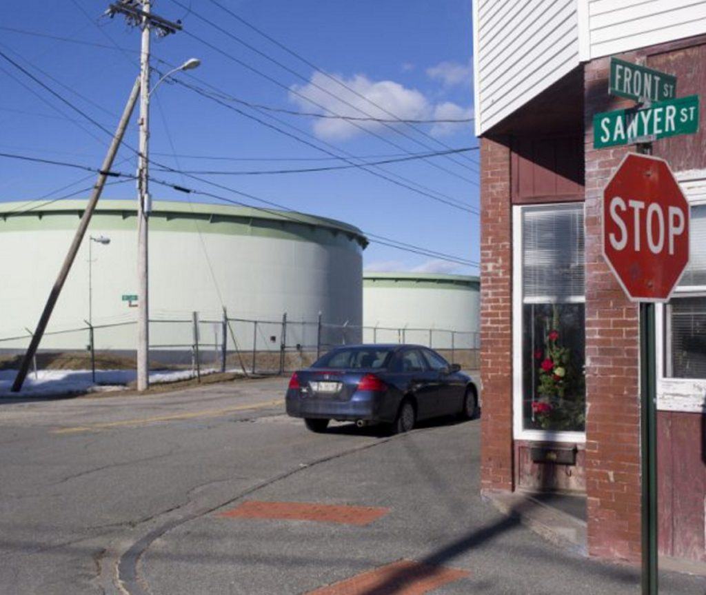 Portland Pipe Line Corp. oil tanks near Sawyer and Front streets in South Portland .