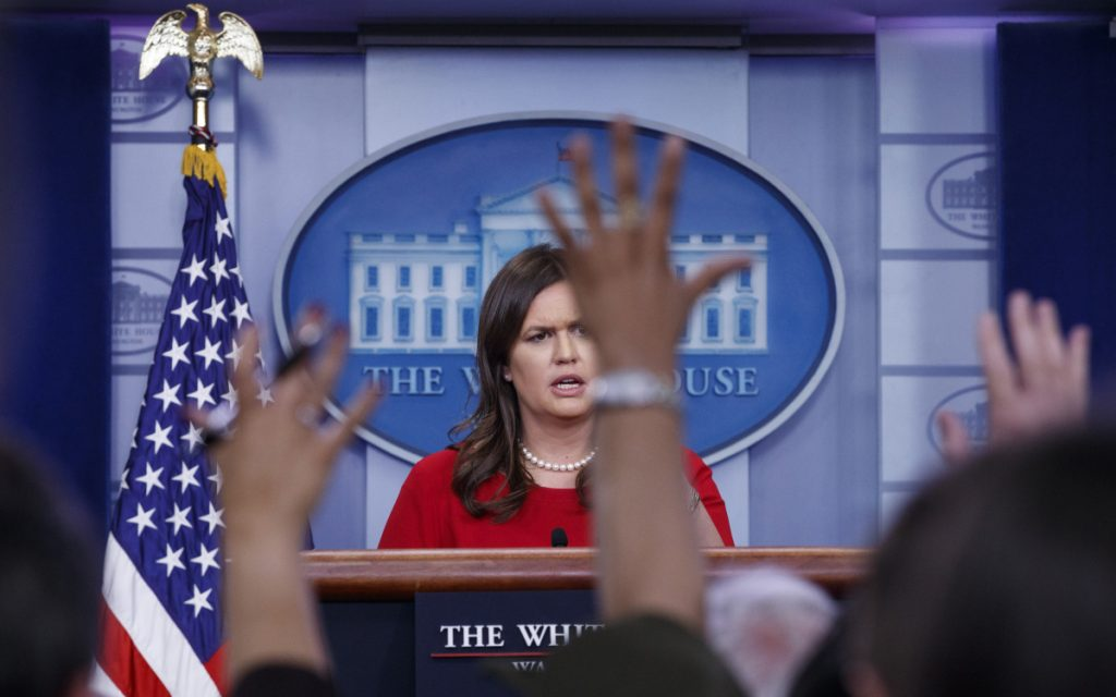 White House press secretary Sarah Huckabee Sanders speaks during the daily news briefing at the White House on Thursday.