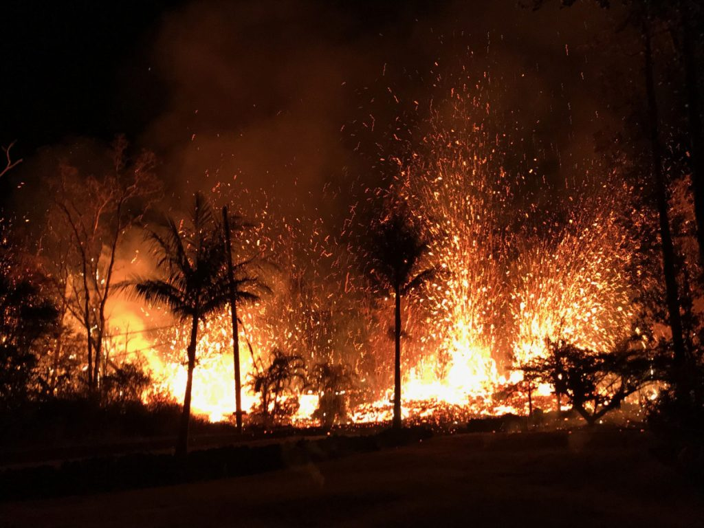A new fissure erupted near two older ones, beginning with small lava spattering at about 8:44 p.m. on Sunday. By 9 p.m., lava fountains as high as about 230 feet were erupting from the fissure.
