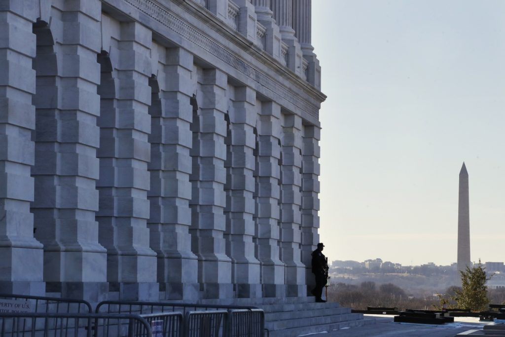 A Capitol Police officer guards his post on Capitol Hill in Washington in January. The U.S. Capitol Police are among the seven winners of this year's Jefferson Muzzles, tongue-in-cheek awards bestowed annually by a free-speech group. The Charlottesville, Virginia-based Thomas Jefferson Center for the Protection of Free Expression announced the