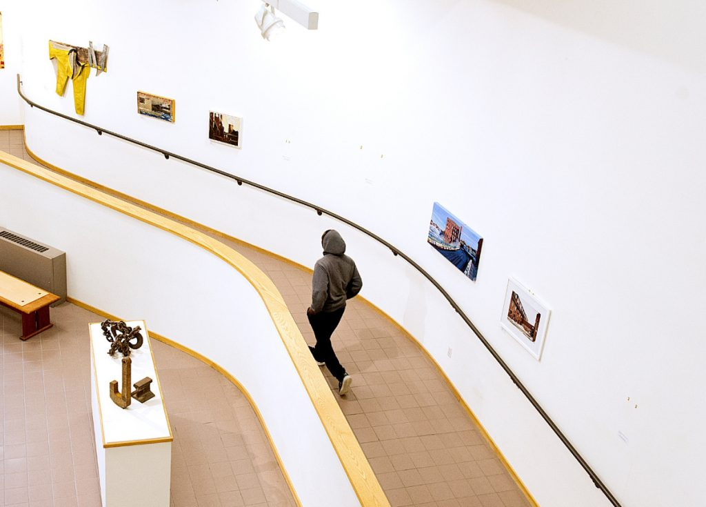 Three paintings by Bruce Habowski have been removed from the Atrium Gallery at the University of Southern Maine Lewiston-Auburn College.