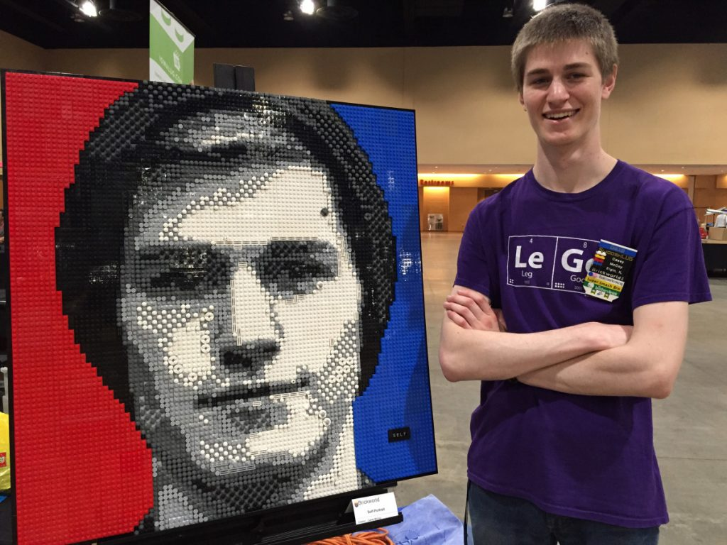 Associated Press/Marcia Dunn Chicago-area college student Casey McCoy stands last June with the self-portrait he created from more than 3,000 Lego bricks. This year's convention is June 13-17.