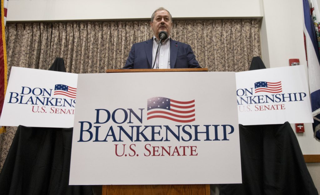 Former Massey CEO and West Virginia Republican Senatorial candidate Don Blankenship speaks during a town hall to kick off his campaign in Logan, W.Va.