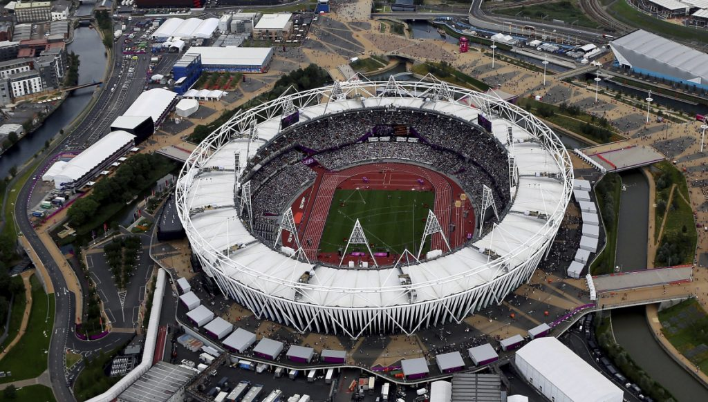 This 2012 photo shows the Olympic Stadium at Olympic Park, in London. The New York Yankees and Boston Red Sox will play a two-game series at London's Olympic Stadium on June 29-30 next year. These will be the first regular-season MLB games in Europe. The Red Sox will be the home team for the both games.