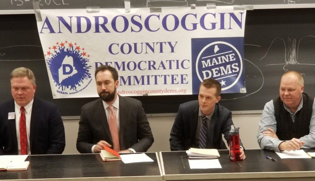 Democratic 2nd District congressional candidates, from left, Craig Olson, Lucas St. Clair, Jared Golden and Jonathan Fulford appear at a March forum at Bates College. Fulford suspended his campaign in April for personal reasons.