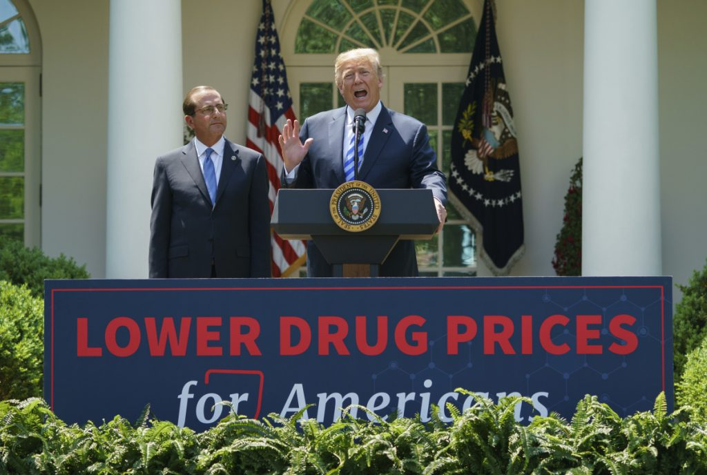 President Trump speaks during an event about prescription drug prices with Health and Human Services Secretary Alex Azar in the Rose Garden of the White House in Washington on Friday.