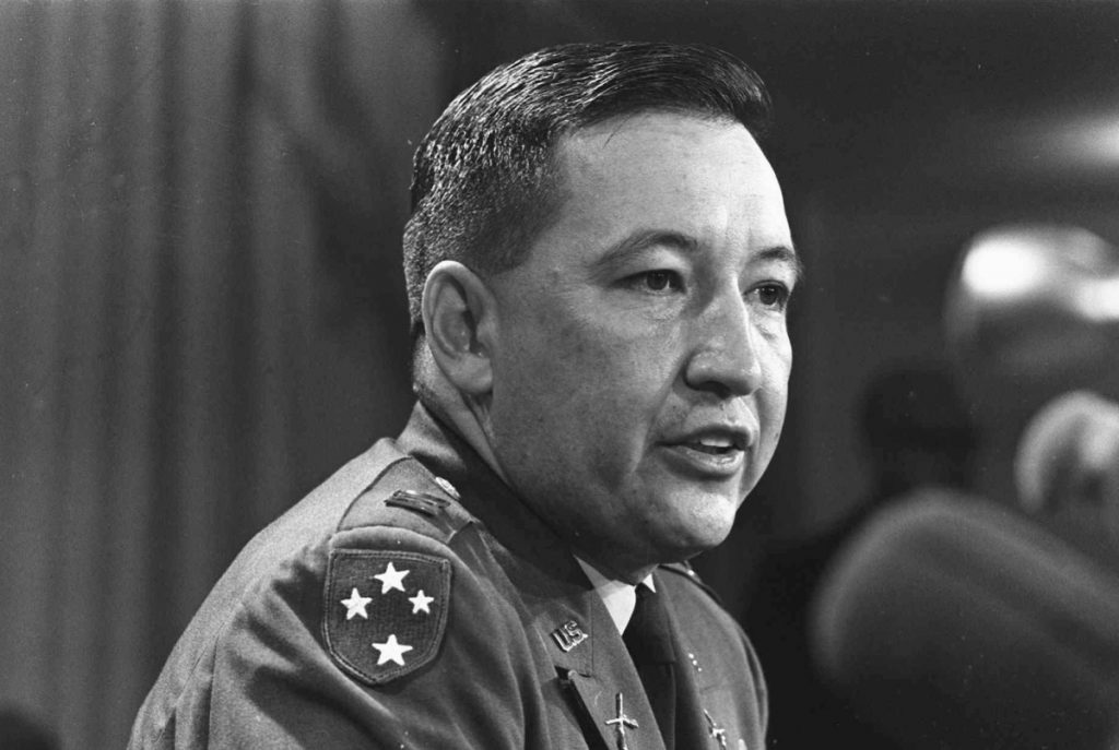 U.S. Army Capt. Ernest Medina, a key figure in the 1968 My Lai massacre during the Vietnam war, speaks at a news conference at the Pentagon in 1969. Medina died on May 8 according to an obituary written by his family. He was 81.