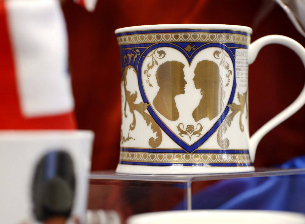 Bridgham & Cook in Freeport, a store specializing in British goods, carries commemorative mugs for your tea (Team Harry) or coffee (Team Meghan).