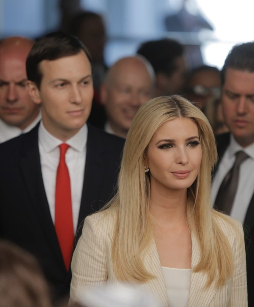 Senior White House adviser Jared Kushner with the president's daughter Ivanka Trump.