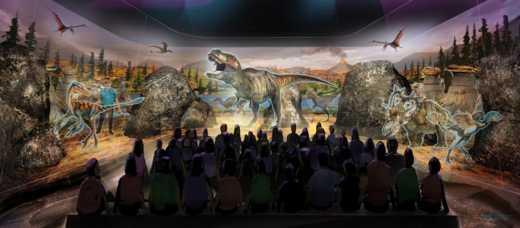 This artist's rendering  shows a prototype three-dimensional hologram display for a dinosaur exhibit. Jack Horner, a Montana paleontologist, is developing a 3-D hologram exhibit that will showcase the latest theories on what dinosaurs looked like.