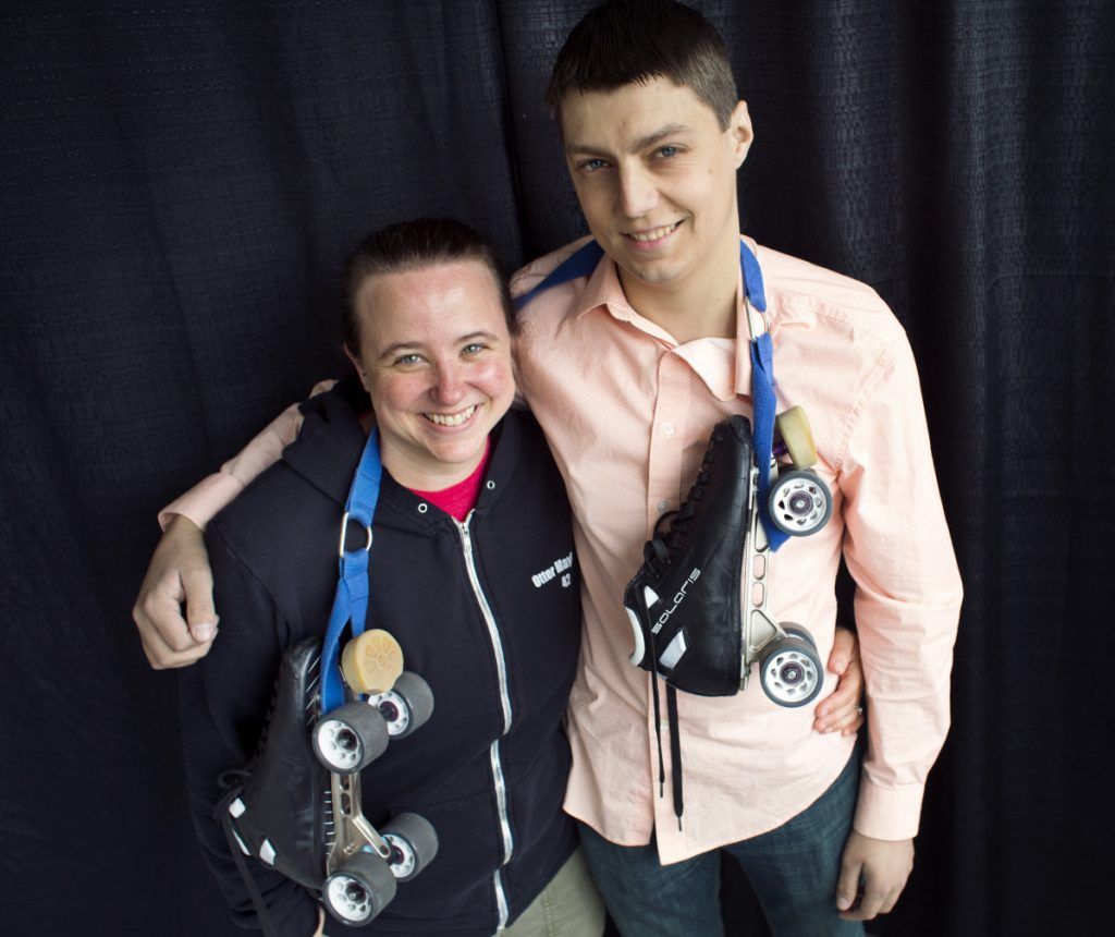 """Roller derby skater Ali Kiger, known as """"Otter Mayhem,"""" will donate a kidney to Jonathan Lyon, aka """"Flyin Lyon."""" They met face-to-face for the first time on Saturday."""