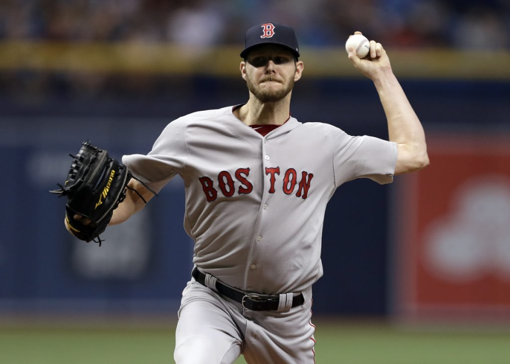 Chris Sale pitched 7   innings, allowing two runs on four hits as the Red Sox beat the Rays 4-2 on Monday in St. Petersburg, Florida.