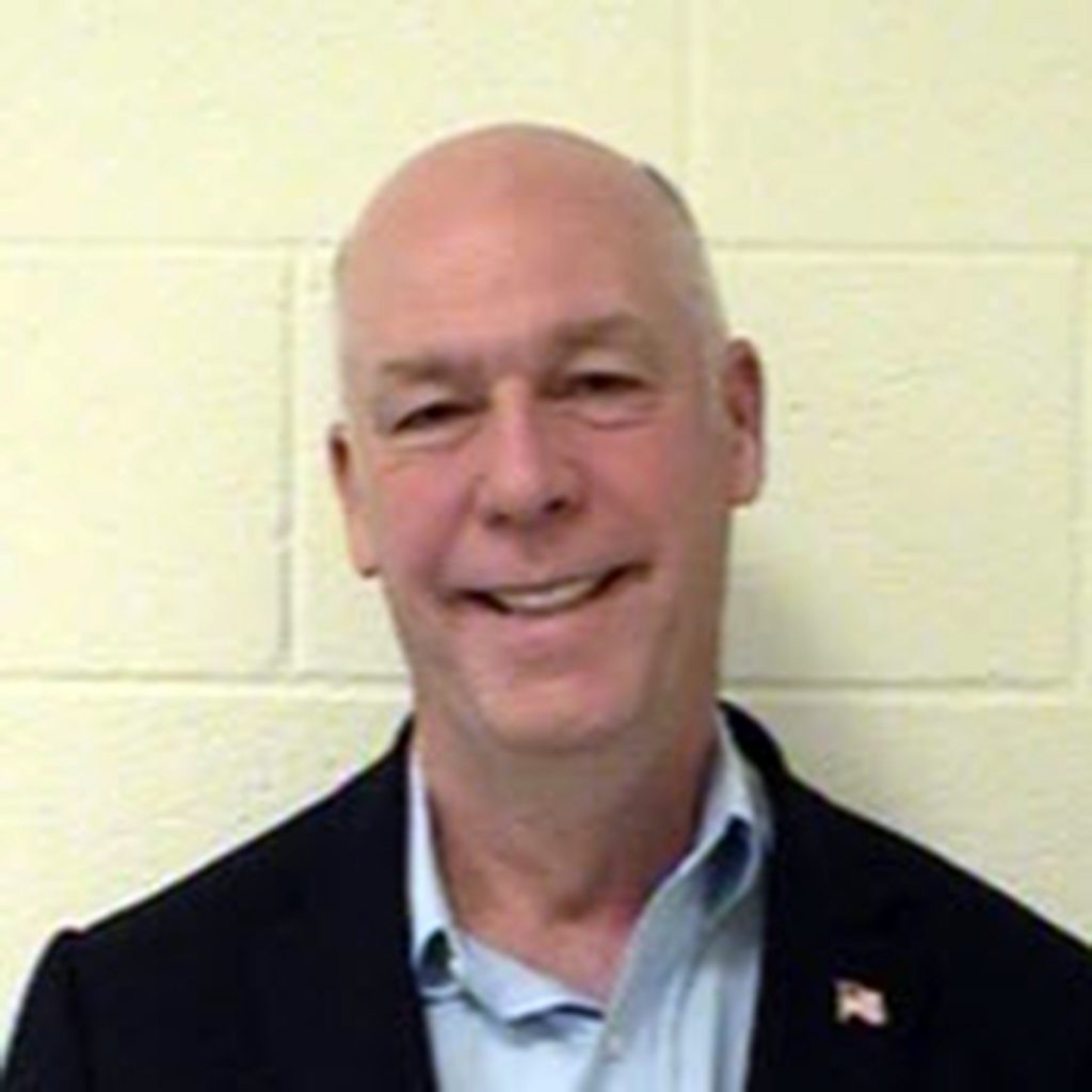 A 2017 booking photo of U.S. Rep. Greg Gianforte, R-Mont., at the Gallatin County Detention Center in Bozeman, Mont.