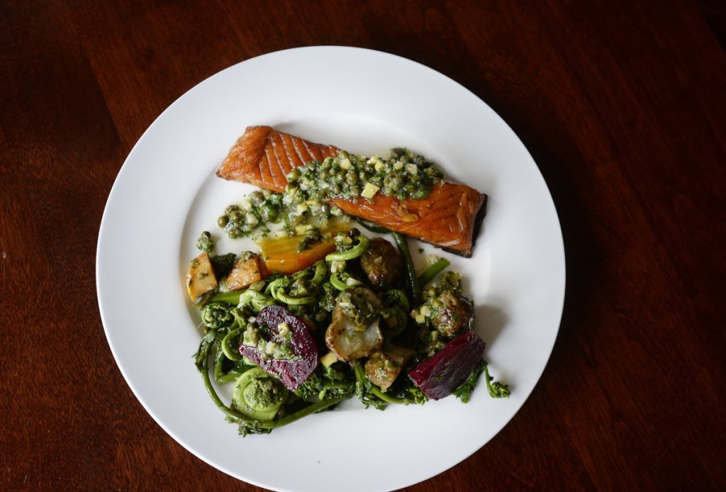 Hot Smoked Salmon and Vegetable Plate with Preserved Lemon and Caper Vinaigrette.