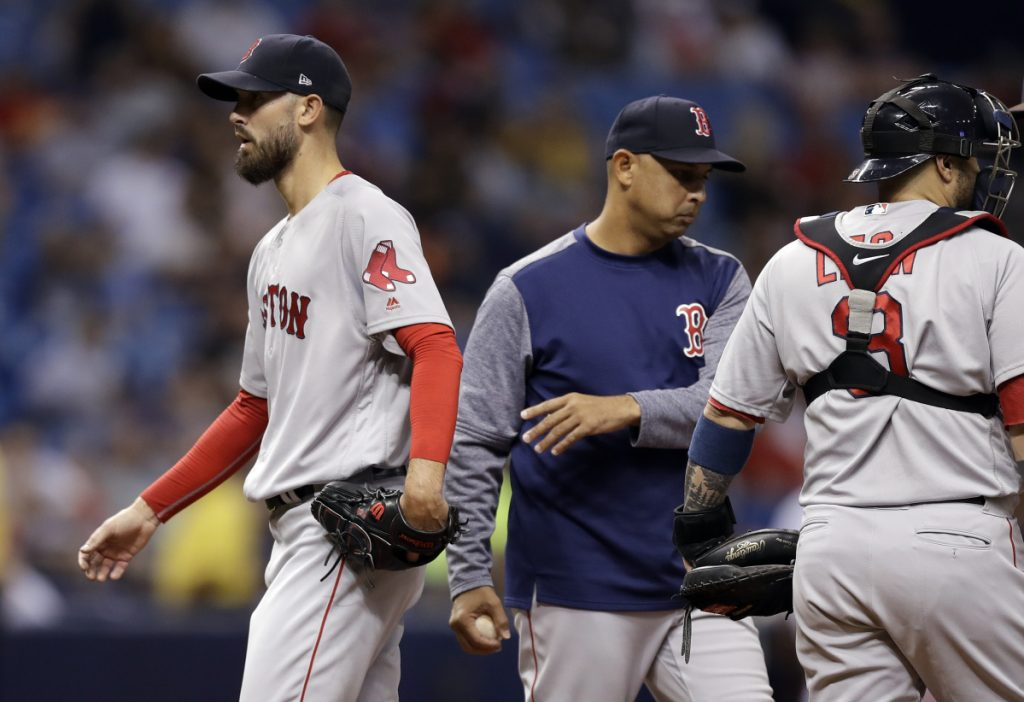 Red Sox Manager Alex Cora takes starting pitcher Rick Porcello out of Thursday's game in the fourth inning against the Tampa Bay Rays. Porcello allowed six runs, four earned.
