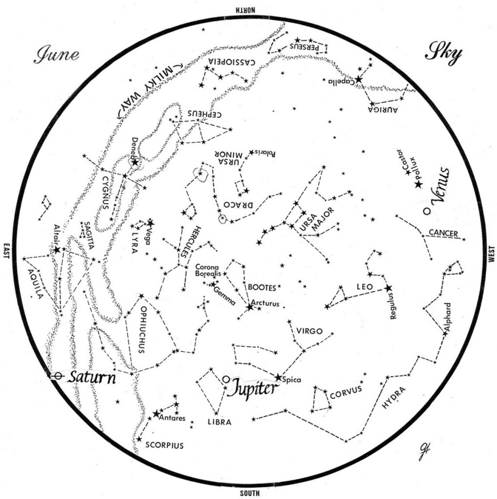 SKY GUIDE: This chart represents the sky as it appears over Maine in June. The stars are shown as they appear at 10:30 p.m. early in the month, at 9:30 p.m. at midmonth and 8:30 p.m. at month's end. Saturn, Jupiter and Venus are shown at their midmonth positions.  To use the map, hold it vertically and turn it so that the direction you face is at the bottom.