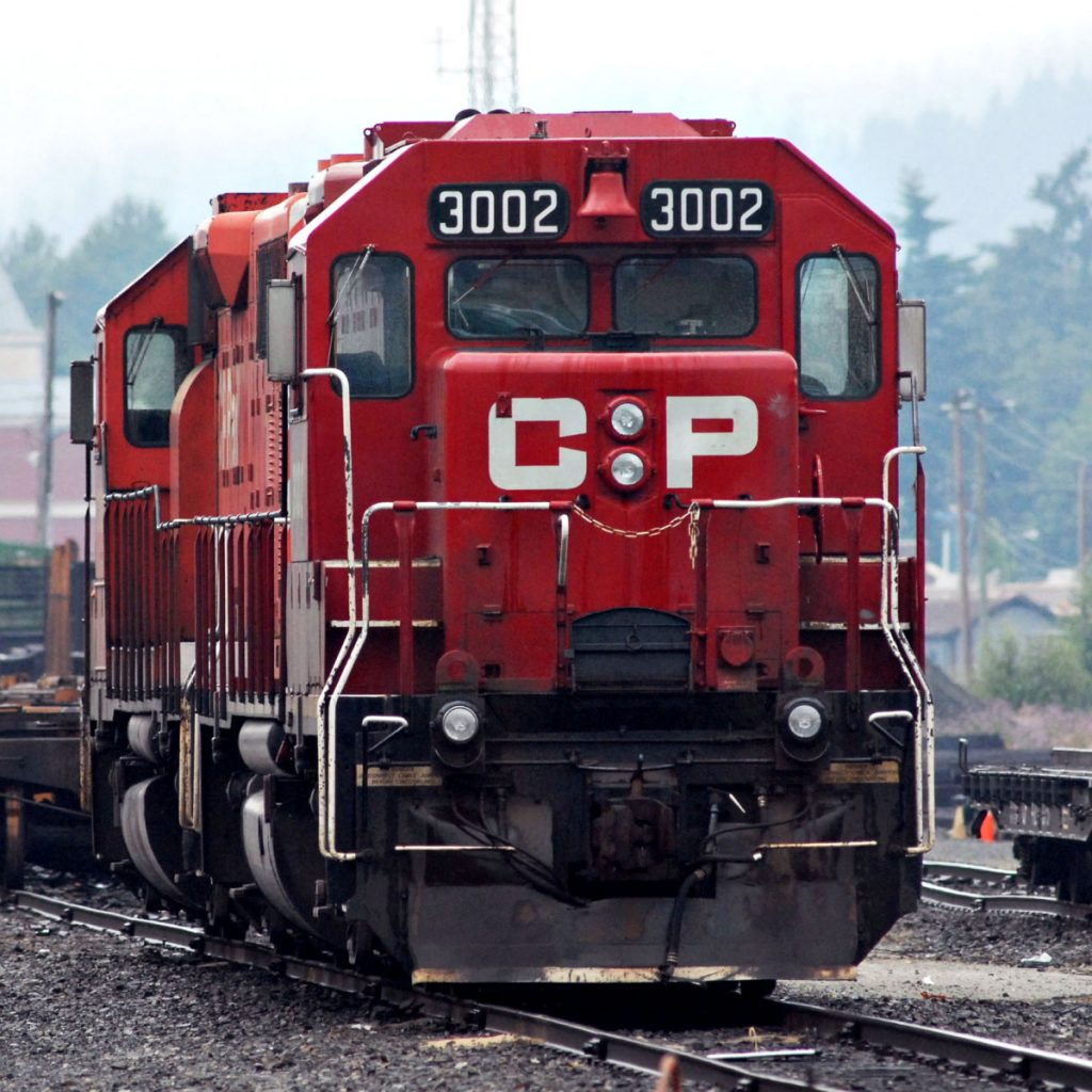 A Canadian Pacific Railway engine sits in a railyard in Port Coquitlam, British Columbia, Canada.
