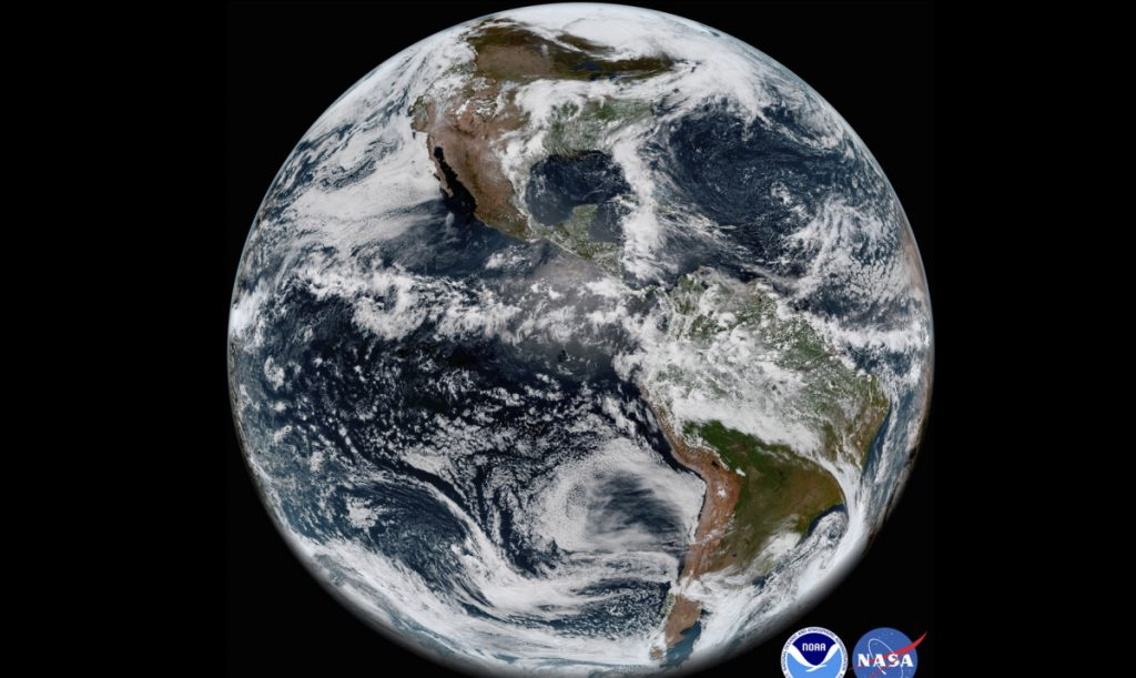 Image from GOES-17 shows the Earth's Western Hemisphere.