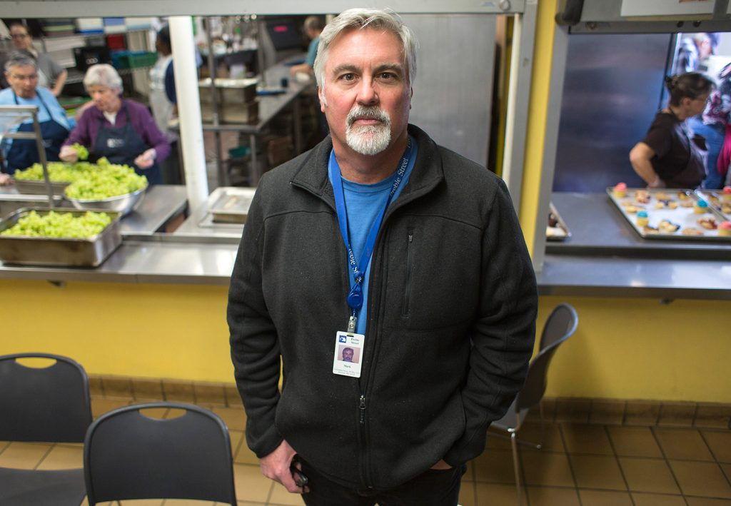 "Mark Swann has been Preble Street's executive director since 1991. ""I can try to live up to the example my dad gave, but also make a living at it,"" he said."