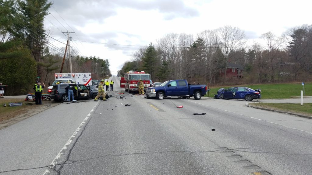 A Lewiston woman was badly injured Monday afternoon in a three-car crash on U.S. Route 202 in East Winthrop.