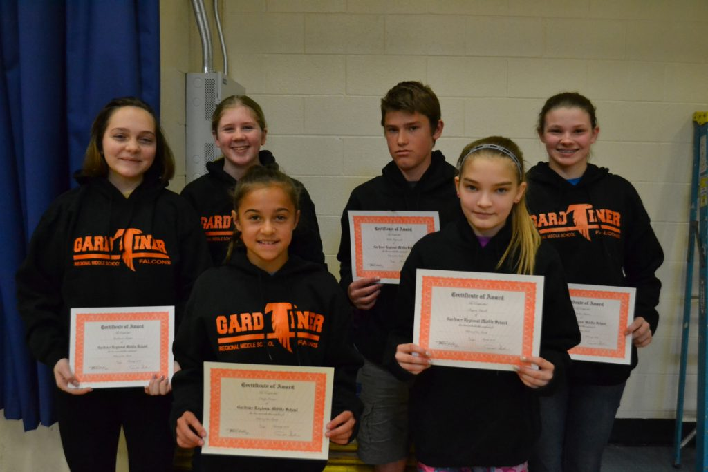 Gardiner Regional Middle School has announced its third quarter Falcon of the Month students. In front, from left, are Emily Grover and Dayna Vasoll. In back, from left, are Mackenzie Chaput, Dakota Lovely, Wylie Weymouth and Lorelei Mason.