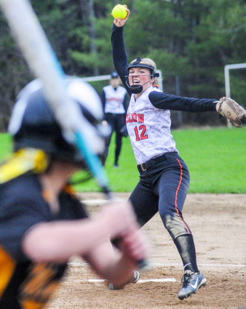 Winslow pitcher Paige Trask throws to a Maranacook batter during a game Friday in Readfield.