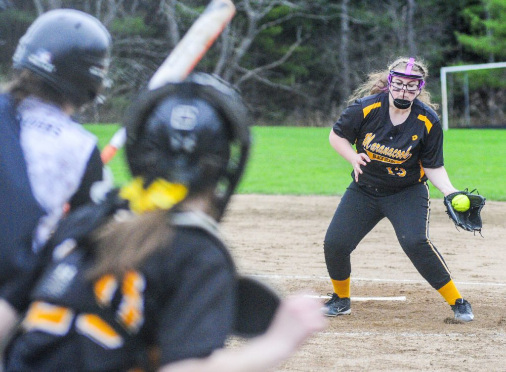 Maranacook pitcher Natalie Costa fields a comebacker from Winslow's Alexa Petrovic and made the throw to get her out at first during a game Friday in Readfield.