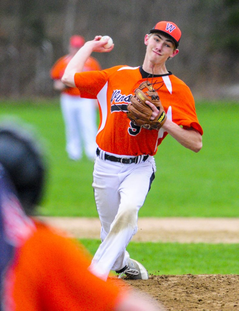 Winslow pitcher Ethan LaChance throws to a Maranacook batter during a game Friday in Readfield.