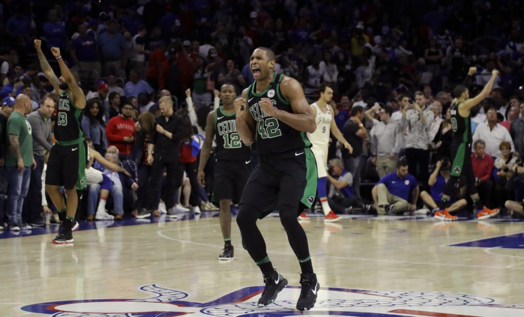 Boston's Al Horford celebrates after winning Game 3 of a second-round playoff series against the Philadelphia 76ers on Saturday in Philadelphia.