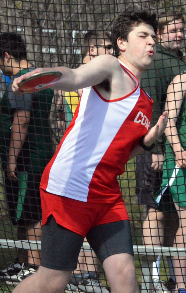 Cony's Gage Bernstein throws the discus during a KVAC meet Monday.