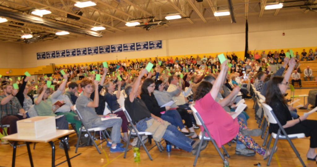 "Regional School Unit 9 voters raise green cards to vote ""yes"" to approve a budget article Tuesday at the Mt. Blue campus in Farmington. The proposed $35.54 million budget now will go to a yes-or-no validation vote Tuesday in each of the 10 district towns."