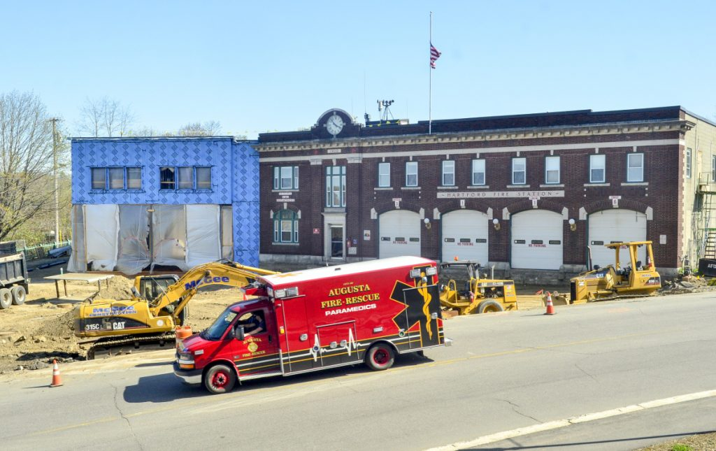The driveway at Hartford Fire Station in Augusta, seen Tuesday, is excavated during a major construction project. Firefighters are working at other stations in the meantime.