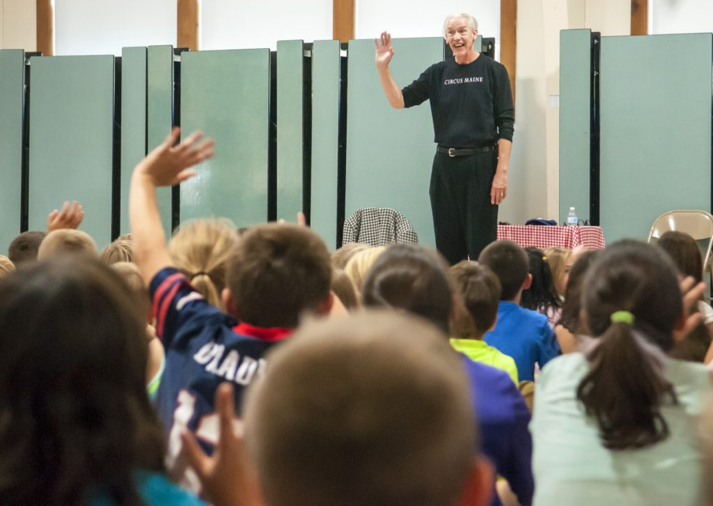 Michael Trautman performs in front of students Oct. 20, 2017, at Pittston Consolidated School, where officials are awaiting a portable classroom building to accommodate students from Randolph.