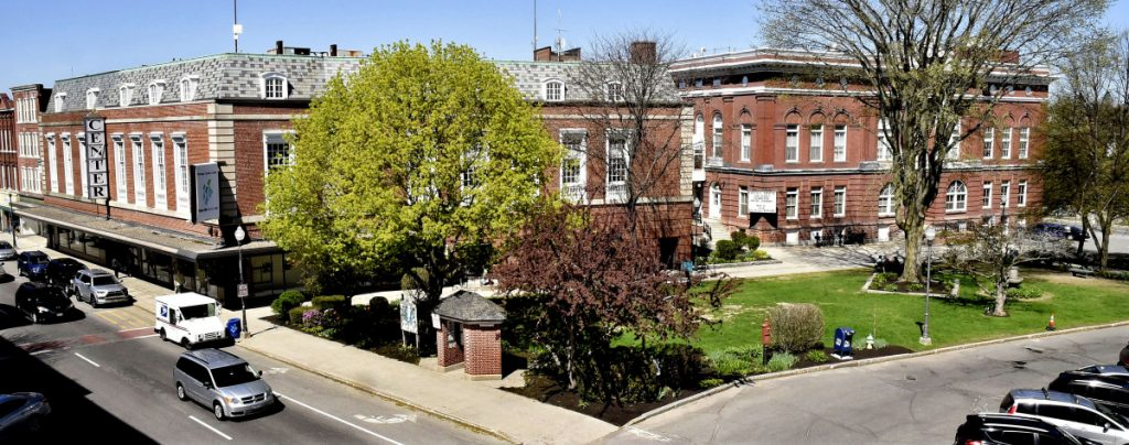 Castonguay Square, shown Wednesday, is a green oasis in downtown Waterville beside City Hall and The Center. Waterville Creates! has been awarded a $75,000 grant from the National Endowment for the Arts to plan a redesign of the square with the city, Colby College and the public starting this fall.