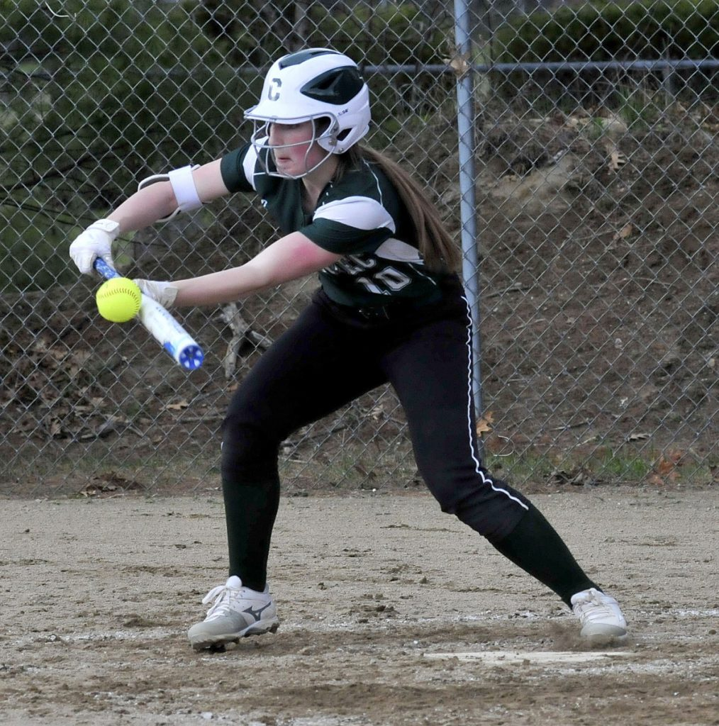 Carrabec's Bailey Dunphy bunts during a game against Oak Hill last season.