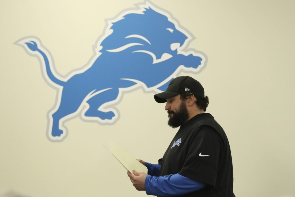 Detroit Lions head coach Matt Patricia leaves a news conference at the team's training facility Thursday in Allen Park, Michigan. Patricia addressed the 1996 sexual assault allegation against him which surfaced in media reports.