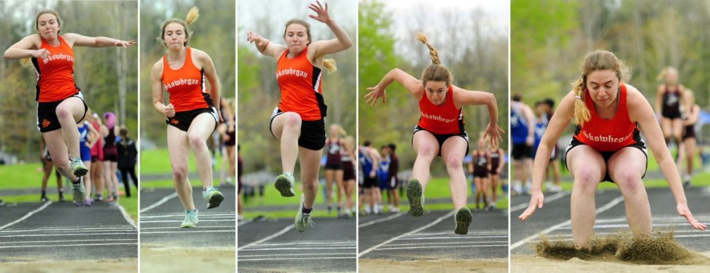 Skowhegan's Anissa McGann completes a triple jump during a track and field meet Thursday at Erskine Academy in South China.
