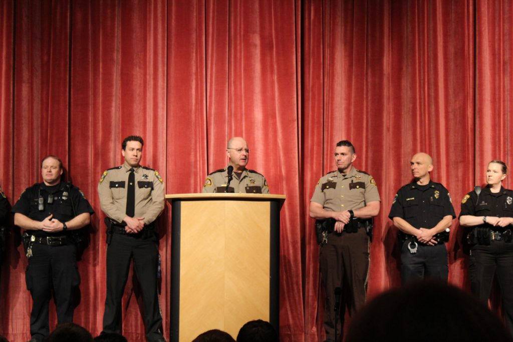 Law enforcement officers present at Lawrence High School's appreciation assembly, from left, were Officer Dave Daignault, Skowhegan Police Department, School Administrative District School Resource Officer; Deputy Jeremy Day, Somerset County Sheriff, School Administrative District 49 School Resource Officer; Somerset County Sheriff Dale Lancaster; Deputy Mike Pike, Somerset County Sheriff; Officer William Bonney, Waterville Police Department; and Officer Shanna Blodgett, Fairfield Police Department.