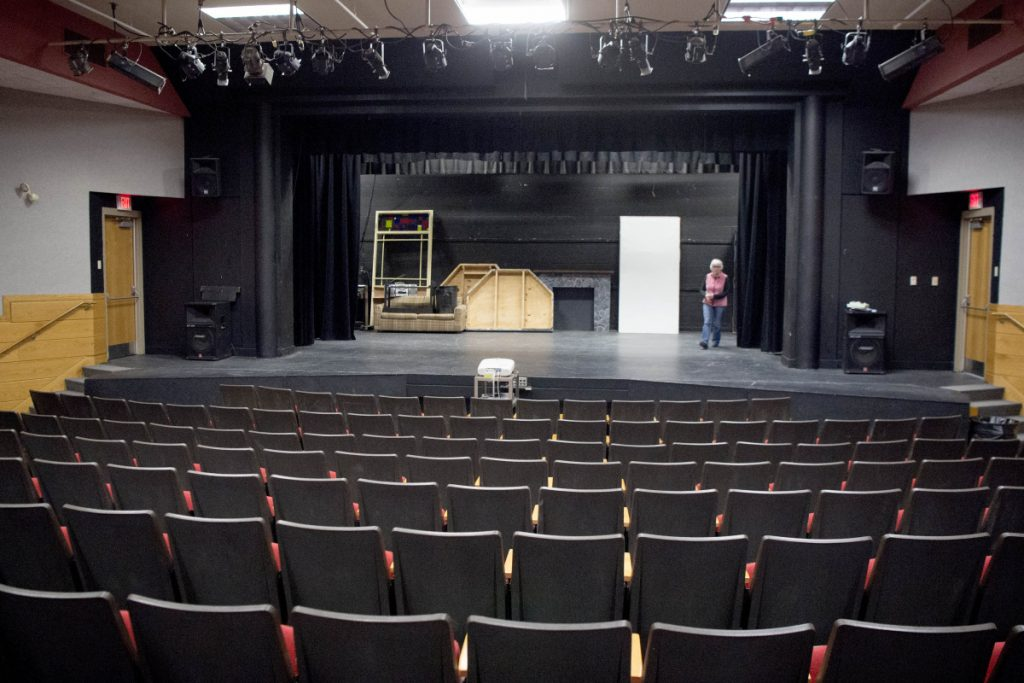 The auditorium at Winslow High School in Winslow on March 16. The building committee for the renovations associated with the closing of Winslow Junior High School has preserved the space originally planned but has shaved nearly $500,000 off the original cost to accommodate the $8.1 million bond the Town Council allowed.