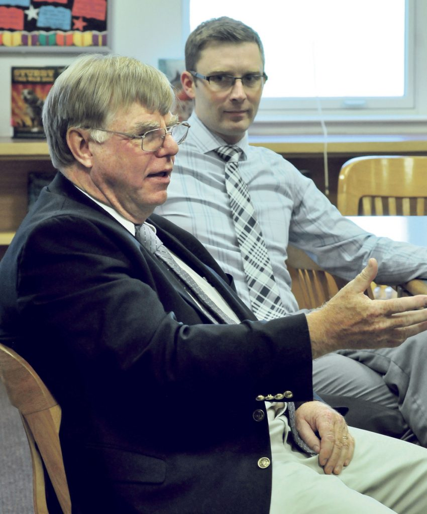 Superintendent Brent Colbry, left, pictured here with Skowhegan Middle School Principal Zach Longyear in May 2016, said the overall proposed budget for School Administrative District 54 is up, but with cuts and a new state subsidy, projected local appropriations are about $96,000 less than the current year's.