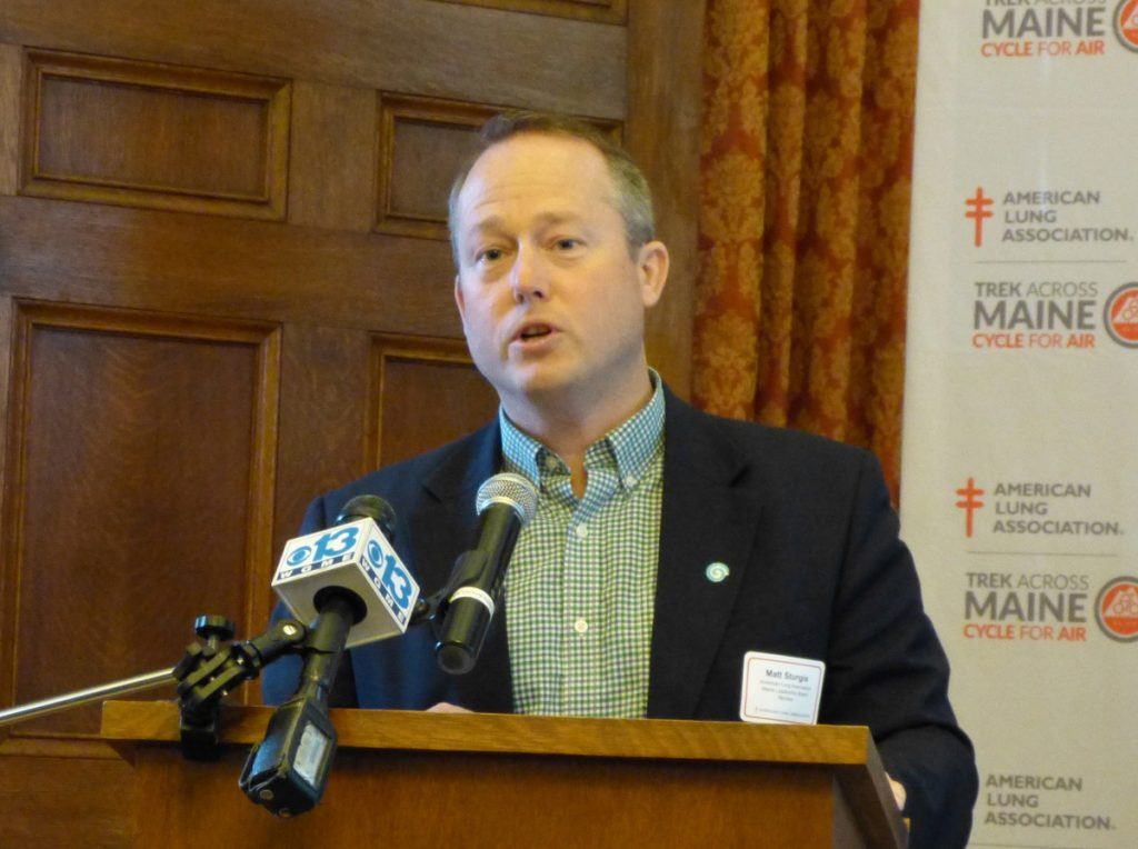 Matt Sturgis, an American Lung Association leadership board member, announces on Tuesday a new Trek Across Maine route for 2019 that will start and finish in Brunswick.