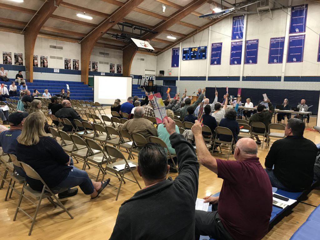 Litchfield taxpayers voted against a proposed spending plan for Regional School Unit 4 during a district budget meeting on Wednesday at Oak Hill High School. Some Litchfield residents are frustrated with the district's funding arrangements, saying they place an undue burden on the town's taxpayers.